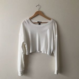 F21 Long Sleeve Cropped White Thermal